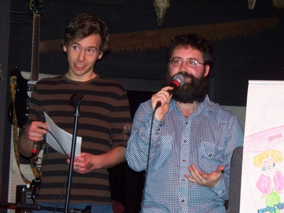 Me and a volunteer telling jokes at the horned hand
