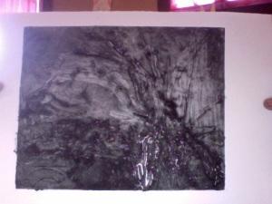 A black relief print.