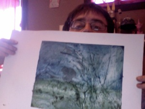 a color relief print, I put blue )straight out of the tub) on the top and mixed a green on the bottom